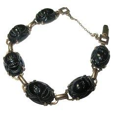 Vintage Link Scarab Bracelet Gold Filled