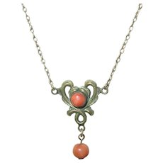 Victorian Gold Filled Coral Lavalier Necklace