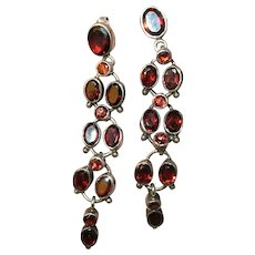Vintage Sterling Garnet Chandelier Earrings