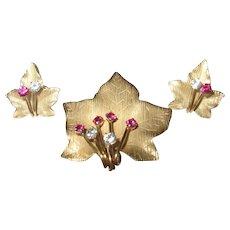 Vintage Gold Filled Earrings Brooch Set by Winard