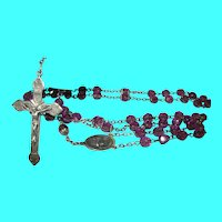Vintage Sterling Rosary Glass Beads