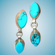Vintage Sterling Turquoise Drop Earrings