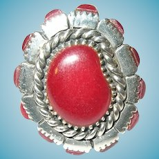 Vintage Sterling Red Glass Ring