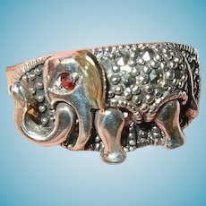 Vintage Sterling 14K Elephant Ring