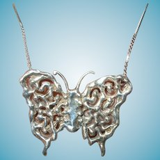 Vintage Sterling Butterfly Pendant Necklace