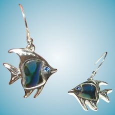 Vintage Sterling Fish Drop Earrings Abalone Shell