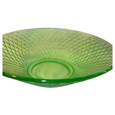 Vintage Green Vaseline Glass Bowl 1930's