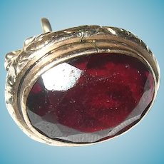 Victorian 10K Watch Fob Faux Ruby