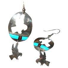 Vintage Sterling Bird Drop Earrings Turquoise