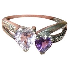 Vintage Sterling Double Heart Amethyst Ring