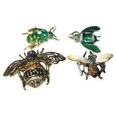 Vintage Bee Brooches Set Enamel Faux Stones
