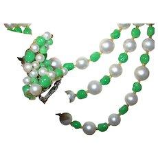 Vintage Triple Strand Art Glass Earrings Necklace Set