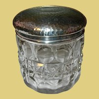 Vintage Sterling Cut Crystal Vanity Jar
