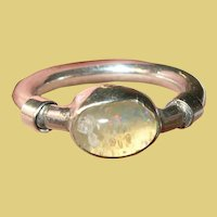 Vintage Sterling Art Glass Ring