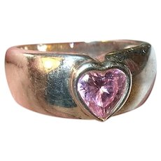 Vintage Sterling Heart Ring Faux Stone