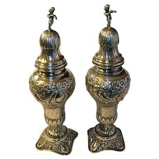 Antique .800 Coin Silver Salt Pepper Shakers Repousse