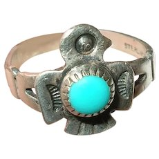 VIntage Sterling Turquoise Ring Native American Bird