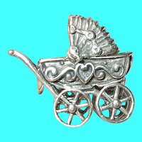 Vintage Sterling Baby Carriage Charm Mechanical