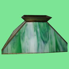 Vintage Green Slag Glass Lamp Shade