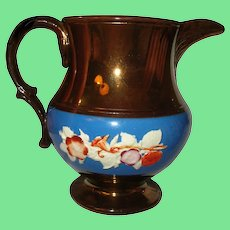Antique Copper Lusterware Pitcher Floral