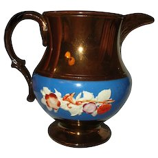 Antique Copper Lusterware Pitcher Floral