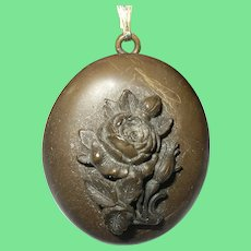 Victorian Gutta Percha Mourning Rose Locket
