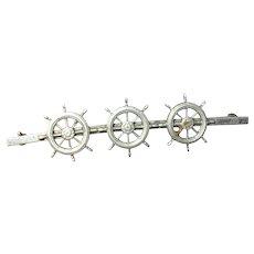 Vintage Sterling Brooch Ships Wheels