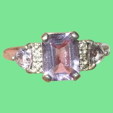 Vintage Sterling Ring White Diamonds Amethyst