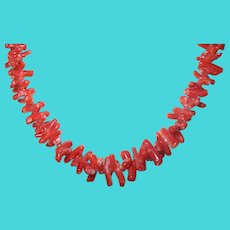 Vintage Coral Necklace Sterling Clasp