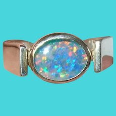Vintage Sterling Ring Faux Fire Opal