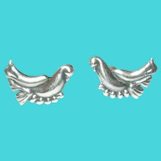 Vintage Sterling Modernist Bird Earrings