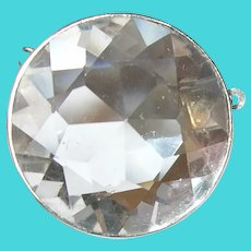 Vintage Faceted Rock Crystal Sterling Pendant