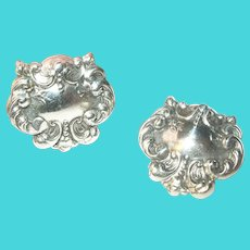Vintage Sterling Repousse Work Earrings