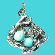 Vintage Sterling Nest Turquoise Eggs Pendant/Charm
