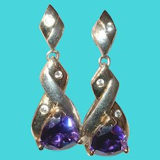 Vintage Sterling Amethyst Drop Earrings