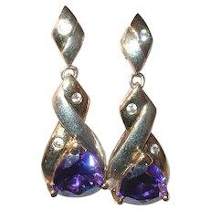 Vintage Sterling Amethyst Drop Earrings