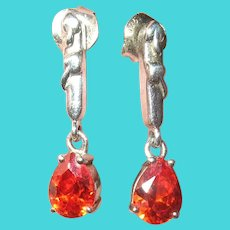 Vintage Sterling Drop Earrings Orange Semi Precious Stone