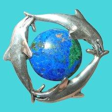 Vintage Sterling Azurite Pendant Brooch Dolphins