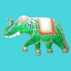 Vintage Sterling Enamel Elephant Brooch by Siam