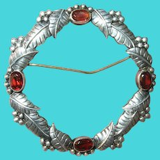 Vintage Sterling Garnet Wreath Brooch