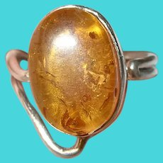 Vintage Sterling Amber Ring Adjustable