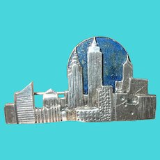 Vintage Sterling Blue Lapis NYC Brooch