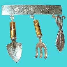 Vintage Sterling Brooch Gardening Tools