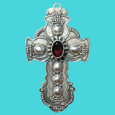 Vintage Sterling Garnet Cross Pendant