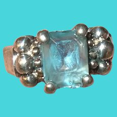 Vintage Sterling Ring Faux Aquamarine