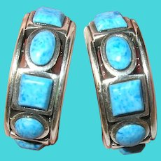 Vintage Sterling Earrings Blue Stones