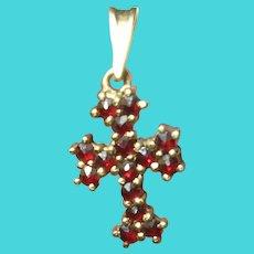 Vintage Sterling Vermeil Garnet Cross Pendant