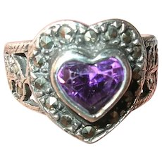 Vintage Sterling Heart Ring Marcasite Faux Amethyst