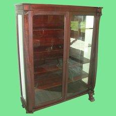 Antique Mahogany Bookcase Glass Panel Doors Claw Feet 1870's