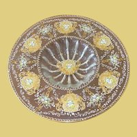 Vintage Bohemian 24K Art Glass Console Bowl Jeweled